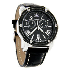 LeVian Soho II Black Diamond Quartz Chronograph Leather Band Watch ZAG 150