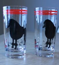 Vintage Poodle Drinking Glasses Dog Black Red Silhouette Set of Two
