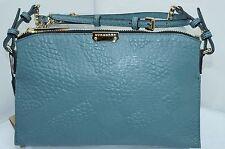 Burberry Authentic New Bag Grain Check Small Wristlet Crossbody Blue Handbag NWT