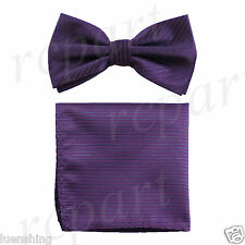 New In Box Men's Pre-tied Bow Tie And Hankie Set Stripes Formal Party Purple