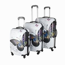Butterfly Design Set of 3 Suitcases - Super Lightweight 4 wheels