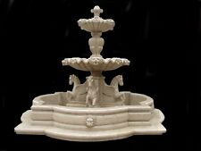 HAND CARVED SOLID MARBLE ESTATE HORSE AND LION FOUNTAIN FNT241