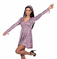 60s Hippie Fancy Dress Ladies Hippy 1960s-1970s Womens Costume Adult Outfit 8-16