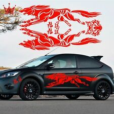 Car Decal Vinyl Graphics Side Decals Body sticker Animal Running wolf king RED