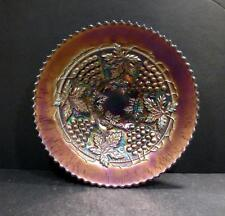 """Northwood Carnival Grape and Cable Amethyst Bowl - 8 3/4""""- MINT"""