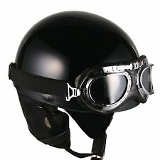 E [ Black ] Vintage Goggle Helmets Scooter Half Face Motorcycle Motorbike