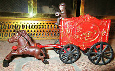 VINTAGE CAST IRON TOY CIRCUS WAGON HORSES & DRIVER with plastic LION