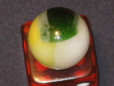 Very Nice Emerald Green Yellow Vintage Vitro Agate Multi Color Glass Marble