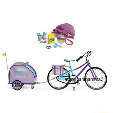 "American Girl MY AG TRIO TRAIL BIKE & PET TRAILER & ACCESSORIES for 18"" Dolls"