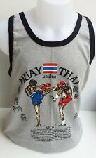 T-SHIRTS MEN'S COTTON SPORT MUAY THAI GRAY TANKS TOPS RUNNING BOXING SIZE XL