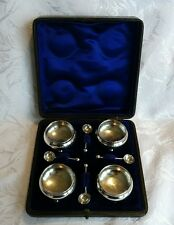 Late Victorian Open Cauldron Salts & Spoons in Box by John Millard Banks, 1892