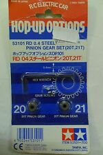TAMIYA HOP-UP RD 0.4 SET PIGNONI STEEL PINION GEAR SET (20T 21T) ART 53101