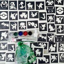 GLITTER TATTOO KIT Pokemon 40 stencils glitters glue UK made prof quality