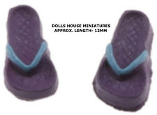 Lilac/ Blue Pair Of Tiny Flip Flops 1:24 Scale, Doll House Miniature, Seaside