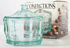 Vintage Octagon Glass Dish Bowl & Lid Indiana Glass Concord Teal Green Box RARE!