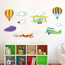 AIRPLANE BALLOON NEW SET PLAYROOM WALL ART STICKERS VINYL DECAL HOME DECORATION