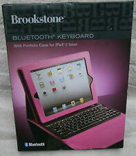 Brookstone Bluetooth Keyboard with Portfolio Case for iPad 2, 3rd Gen - Pink NEW