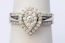 Pear Shape Diamonds Ring Set Bridal Engagement Wedding White Gold With Two Bands