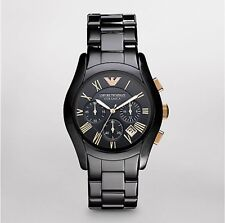 New EMPORIO ARMANI. Black Ceramica model AR1410 Mens Watch Rose Gold