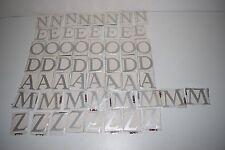 NEUF 56 lettres à coller alu argentées mat hauteur 5cm A-Z-O-M-D-E-N