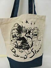 Cream/Blue Cat Printed Ladies/Teen Medium Size Shoulder Bag/Tote Bag