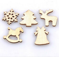 50 Mixed Christmas Wood Craft Embelishments Tags Christmas Tree Decor Ornament