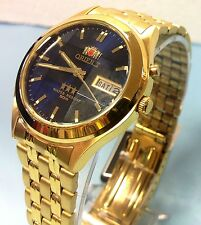 RELOJ  ORIENT AUTOMATIC MEN WATCH CRYSTAL CUT GOLD TONE  BLUE DIAL W/ BOX