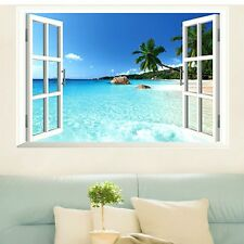 Removable 3D Sea Ocean Window Living Room Vinyl Wallpaper Stikcer Mural Decal