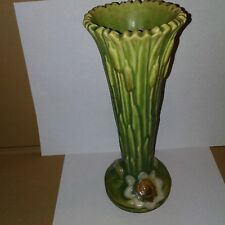 "L@@K Weller Pottery  rare 9"" green vase  waterlillies and cattails"