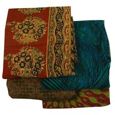 Vintage Indian Lot of 4 Saree Garden Silk Fabric Wrap Décor Multicolor Used Sari