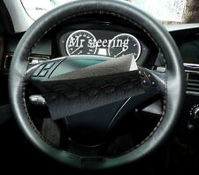FITS BMW 3 SERIES E90 E91 2005-2011 REAL BLACK LEATHER STEERING WHEEL COVER NEW