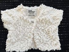 PRIMARK GIRLS BOLERO JACKET AGE 4-5 YEARS FAUX FUR CREAM NEW