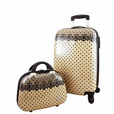 New Jacki Designs Polka Dot Romance Hard Case Carry On Luggage and Travel Case
