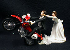 Off Road Dirt Bike Motorcycle wedding Cake topper Red Honda Racing Track Funny 2