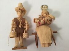 RARE COLLECTABLE CORN HUSK DOLLS MOTHER, BABY AND MAN MADE IN CZECH