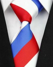 Royal Blue, Red And White Striped Silk Classic Woven Horse Show Tie *New*