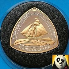 2006 BERMUDA $3 Dollars SHIPWRECK Hunter Galley Silver Proof & Gold Plated Coin