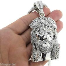 Big Jesus Face Chunky Head Iced-Out Pendant Silver Tone Necklace Franco Chain