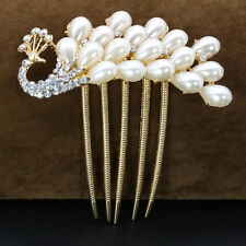 Vintage Women Bride Crystal Pearl Comb Clip Wedding Bridal Hair Accessories new