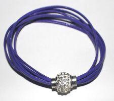 trendiges Armband Armschmuck PU-Leder lila Strass-Magnet-Verschluss 7-reihig