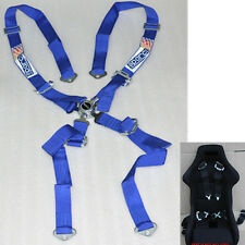 4 Point Nylon Car F1 Sport Racing Safety Seat Belt Camlock Harness Buckle Blue