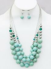 Three Layers Cracked Look Lucite Bead Glass & Silver Tone Bead Necklace Earring