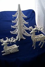 GRANDEUR NOEL 2 DEER/TREE FILLIGREE WOOD TREE AND DEER WINTER WHITE