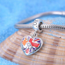 Heart Shaped Great Britain's Flag Silver Pendant Charm