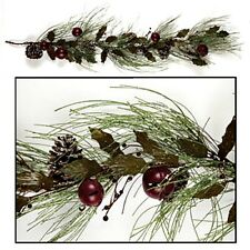 New Country Primitive BURGUNDY BELL HOLLY PINE Christmas Garland Swag Vine 4 ft