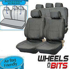 UNIVERSAL BLACK PVC Leather Look Car Seat Covers Heavy Duty Full Set Split Rears