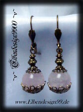 ~v~Ohrschmuck°Rose Quartz°Gothic°Rosenquarz°Ohrhänger°earrings°LARP°bronze~v~