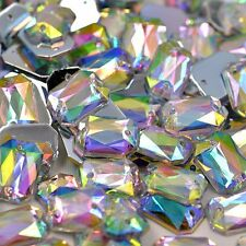 50 pcs x Sew On 10x14 mm Acrylic Rhinestones Clear AB Color Rectangle Shape
