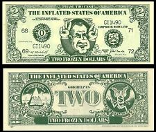 The Inflated States Of America. Two Frozen Dollars Bill. Richard Nixon. 1972