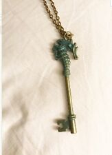 Bronze Patina green Blue Turquoise Seahorse Key Necklace